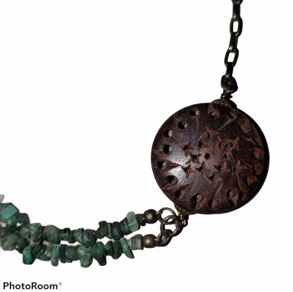 Turquoise and Wood Necklace Adjustable